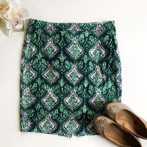 "J Crew Green Paisley Print ""the pencil skirt"""